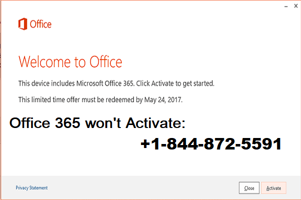 Office 365 won't activate