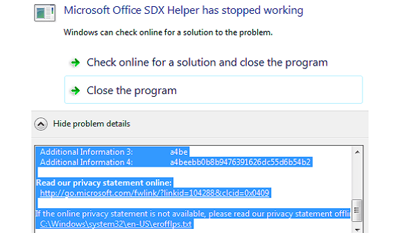 Microsoft office SDX helper has stopped working