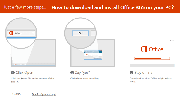 download and install Office 365